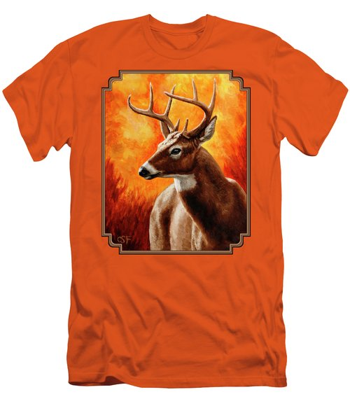Whitetail Buck Portrait Men's T-Shirt (Slim Fit) by Crista Forest