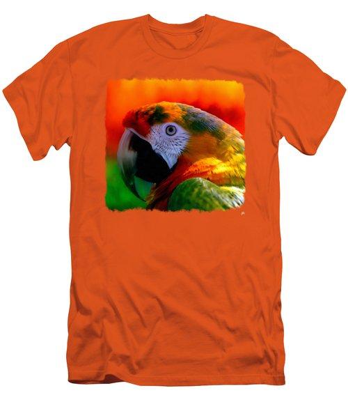 Colorful Macaw Parrot Men's T-Shirt (Slim Fit) by Linda Koelbel