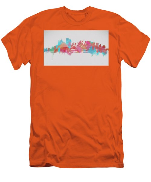 Colorful Sydney Skyline Silhouette Men's T-Shirt (Slim Fit) by Dan Sproul