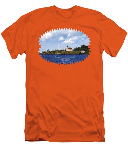 Copper Harbor Lighthouse Men's T-Shirt (Slim Fit) by Christina Rollo