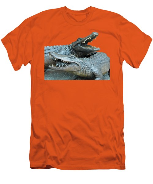 Dueling Gators Transparent For Customization Men's T-Shirt (Slim Fit) by D Hackett