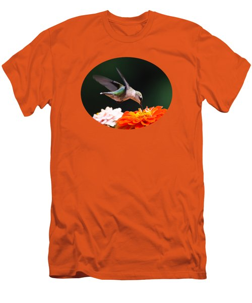 Hummingbird In Flight With Orange Zinnia Flower Men's T-Shirt (Slim Fit) by Christina Rollo