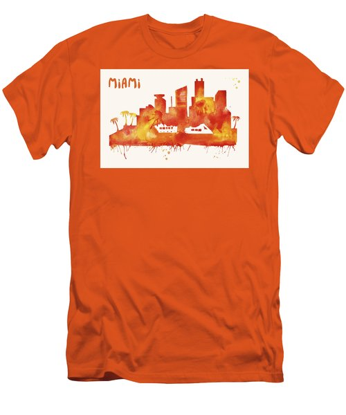 Miami Skyline Watercolor Poster - Cityscape Painting Artwork Men's T-Shirt (Slim Fit) by Beautify My Walls
