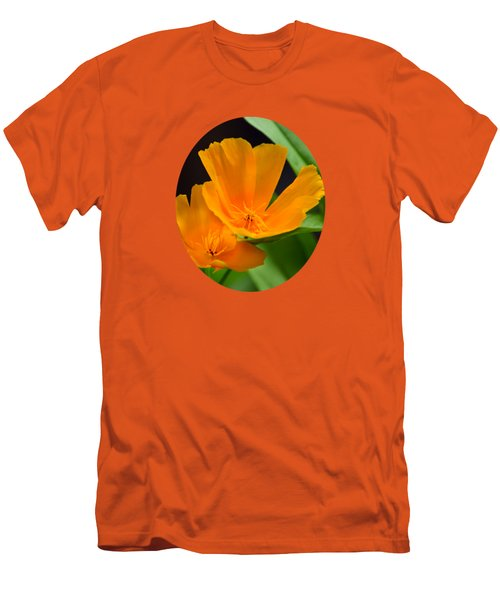Orange California Poppies Men's T-Shirt (Slim Fit) by Christina Rollo