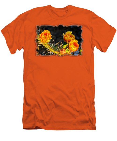 Prickly Pear Flowers Op49 Men's T-Shirt (Slim Fit) by Mark Myhaver