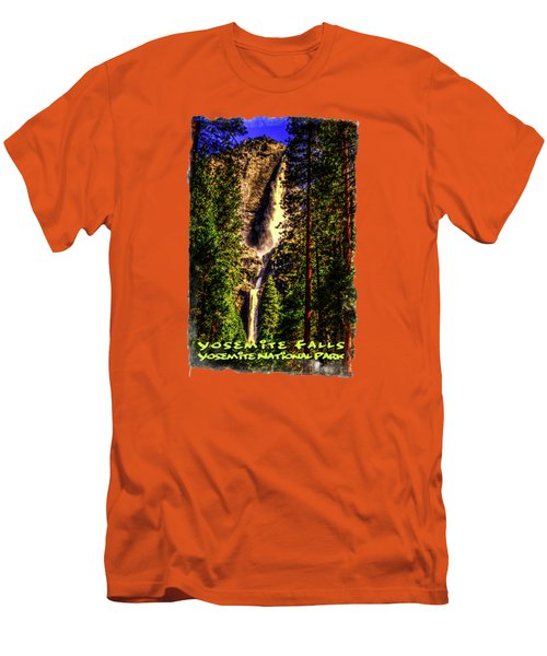 Yosemite Falls Framed By Ponderosa Pines Men's T-Shirt (Slim Fit) by Roger Passman