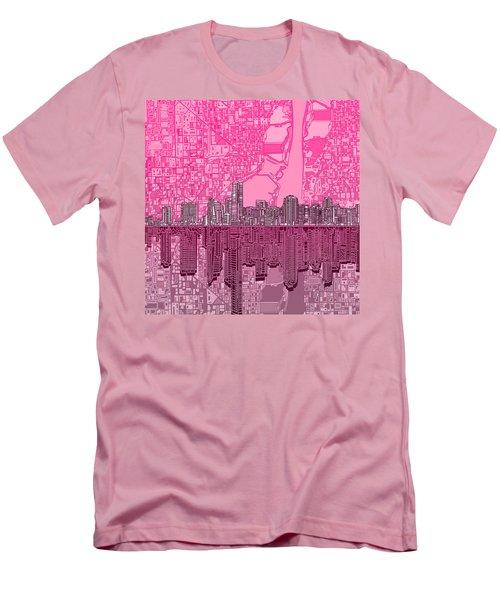 Miami Skyline Abstract 4 Men's T-Shirt (Slim Fit) by Bekim Art