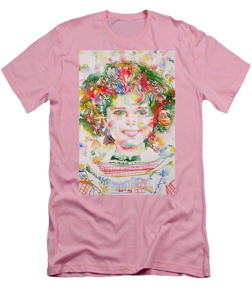 Shirley Temple - Watercolor Portrait.1 Men's T-Shirt (Slim Fit) by Fabrizio Cassetta