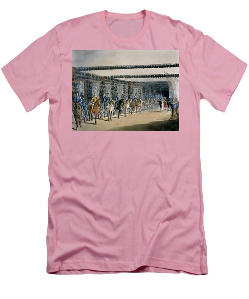 The Horse Armour Tower, Print Made Men's T-Shirt (Slim Fit) by T. & Pugin, A.C. Rowlandson