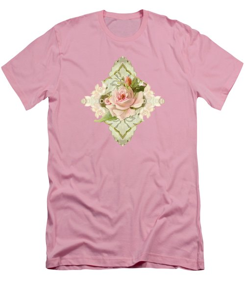Summer At The Cottage - Vintage Style Damask Roses Men's T-Shirt (Slim Fit) by Audrey Jeanne Roberts