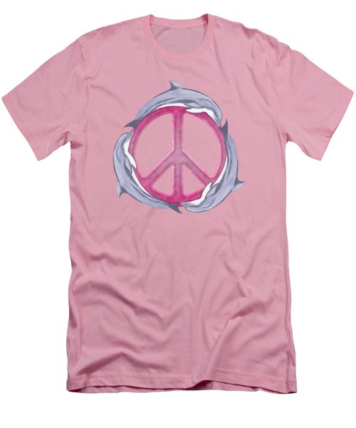 Dolphin Peace Pink Men's T-Shirt (Slim Fit) by Chris MacDonald