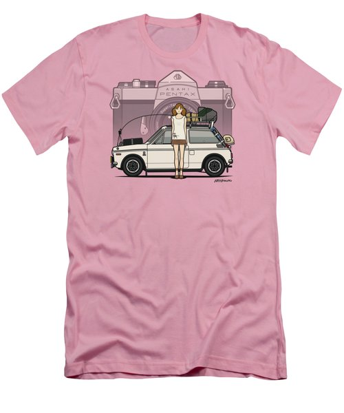 Honda N600 Rally Kei Car With Japanese 60's Asahi Pentax Commercial Girl Men's T-Shirt (Slim Fit) by Monkey Crisis On Mars