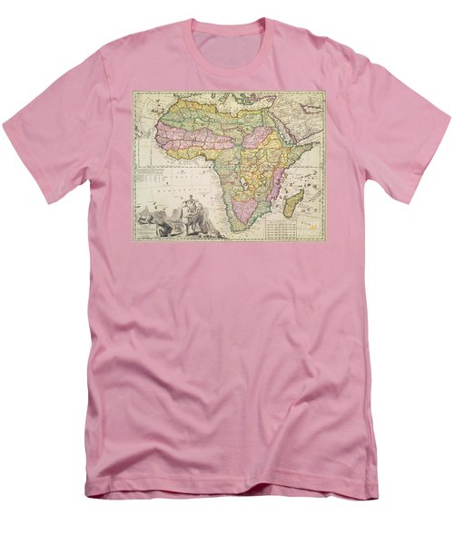 Antique Map Of Africa Men's T-Shirt (Slim Fit) by Pieter Schenk