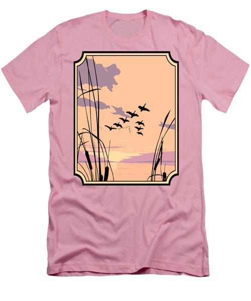 Abstract Ducks Sunset 1980s Acrylic Ducks Sunset Large 1980s Pop Art Nouveau Painting Retro      Men's T-Shirt (Slim Fit) by Walt Curlee