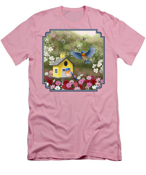Bluebirds And Yellow Birdhouse Men's T-Shirt (Slim Fit) by Crista Forest