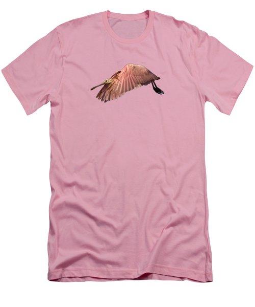 Roseate Spoonbill In Flight Men's T-Shirt (Slim Fit) by John Harmon