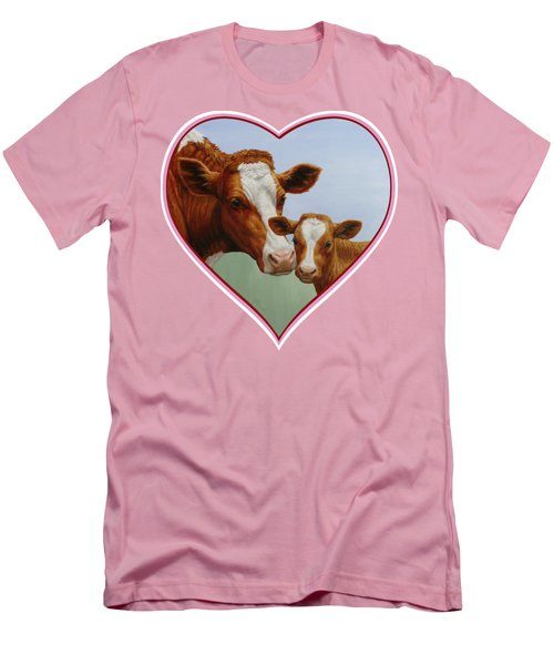 Cow And Calf Pink Heart Men's T-Shirt (Slim Fit) by Crista Forest