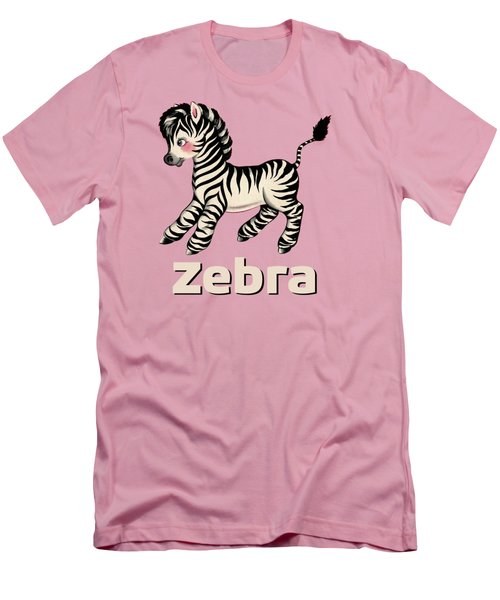 Cute Baby Zebra Pattern Vintage Book Illustration Pattern Men's T-Shirt (Slim Fit) by Tina Lavoie