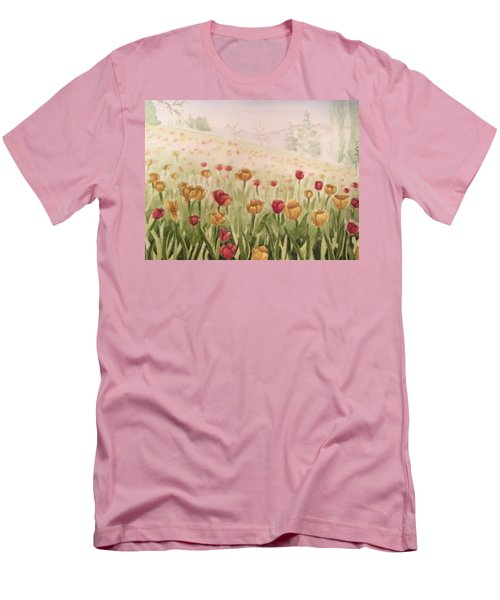 Field Of Tulips Men's T-Shirt (Slim Fit) by Kayla Jimenez