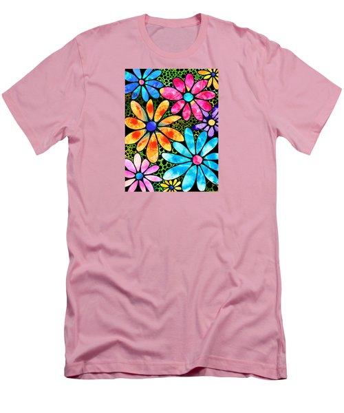 Floral Art - Big Flower Love - Sharon Cummings Men's T-Shirt (Slim Fit) by Sharon Cummings