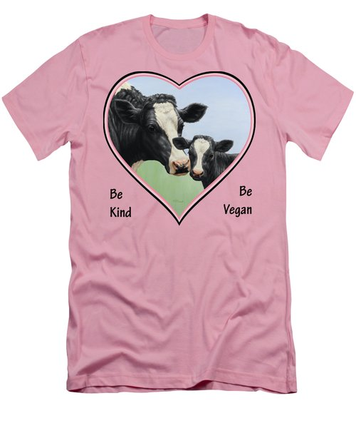 Holstein Cow And Calf Pink Heart Vegan Men's T-Shirt (Slim Fit) by Crista Forest