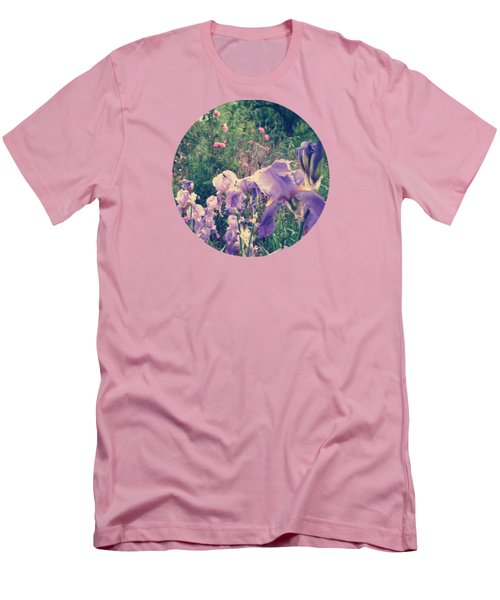 Irises And Roses In The Garden Men's T-Shirt (Slim Fit) by Mary Wolf