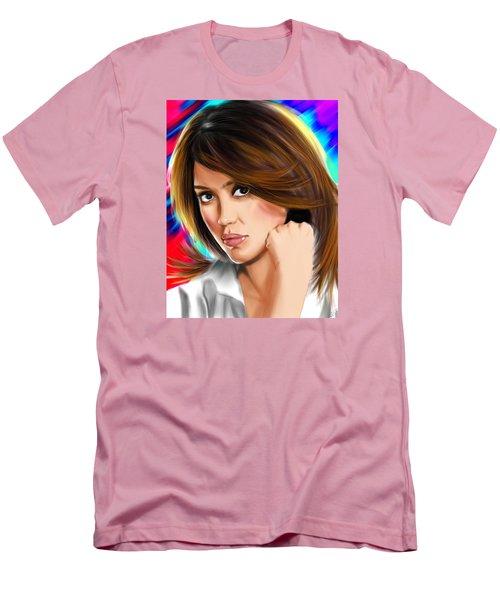 Jessica Alba Men's T-Shirt (Slim Fit) by Isaac Martinez