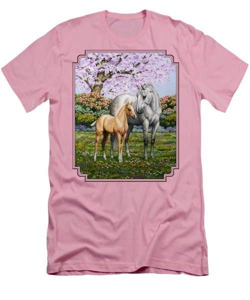 Mare And Foal Pillow Pink Men's T-Shirt (Slim Fit) by Crista Forest