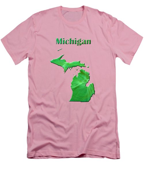 Michigan Map Men's T-Shirt (Slim Fit) by Roger Wedegis