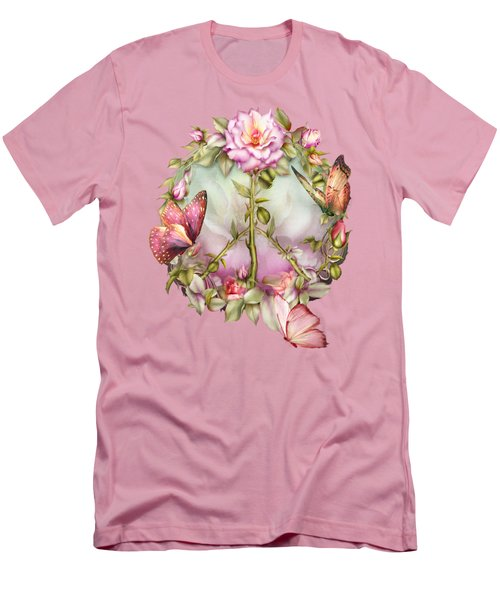 Peace Rose Men's T-Shirt (Slim Fit) by Carol Cavalaris