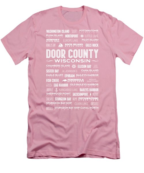 Places Of Door County On Coral Men's T-Shirt (Slim Fit) by Christopher Arndt