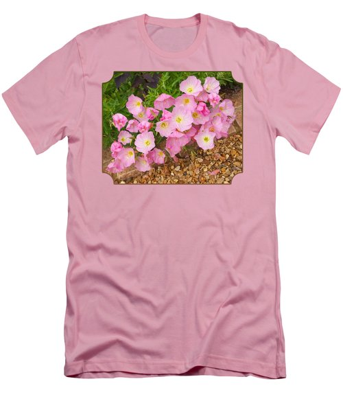 Pretty Pink Rock Roses In The Rain Men's T-Shirt (Slim Fit) by Gill Billington