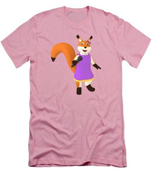 Singing Squirrel Men's T-Shirt (Slim Fit) by Yulia Litvinova