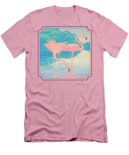 Square Format - Pink Flamingos Retro Pop Art Nouveau Tropical Bird 80s 1980s Florida Painting Print Men's T-Shirt (Slim Fit) by Walt Curlee