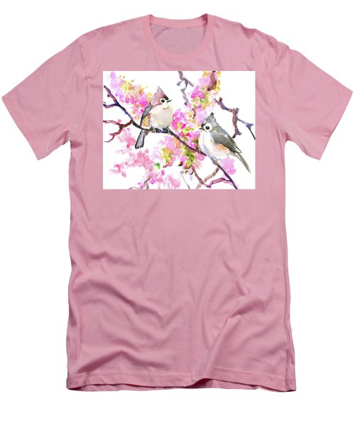 Titmice And Cheery Blossom Men's T-Shirt (Slim Fit) by Suren Nersisyan