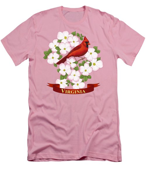 Virginia State Bird Cardinal And Flowering Dogwood Men's T-Shirt (Slim Fit) by Crista Forest