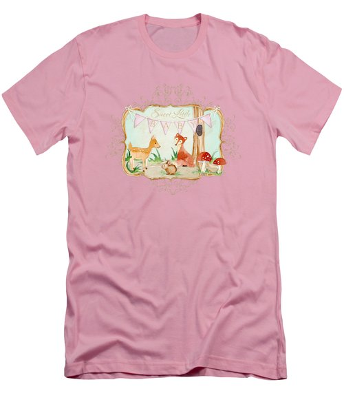 Woodland Fairytale - Banner Sweet Little Baby Men's T-Shirt (Slim Fit) by Audrey Jeanne Roberts
