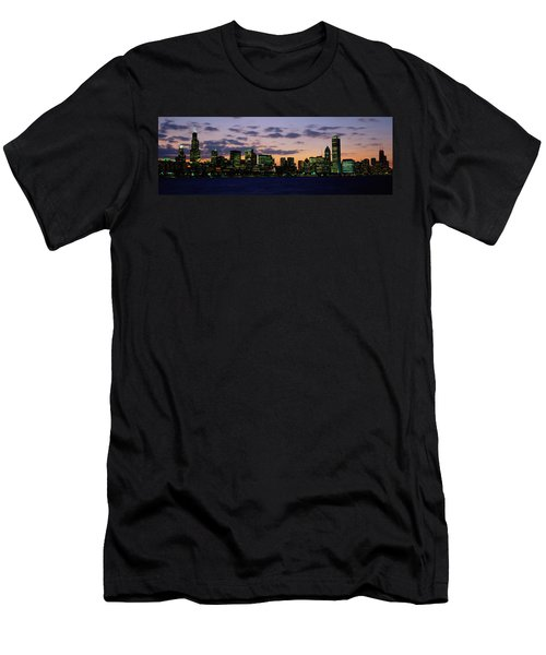 Buildings In A City At Dusk, Chicago Men's T-Shirt (Slim Fit) by Panoramic Images