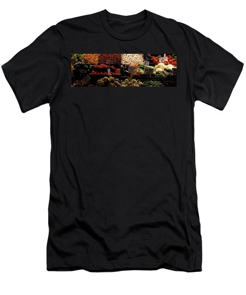 Fruits And Vegetables At A Market Men's T-Shirt (Slim Fit) by Panoramic Images