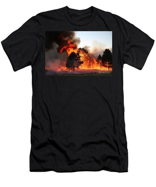 Men's T-Shirt (Slim Fit) featuring the photograph A Burst Of Flames From The White Draw Fire by Bill Gabbert
