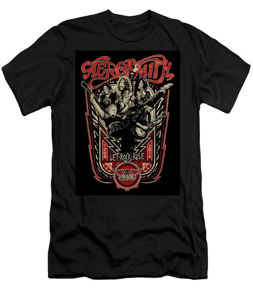Aerosmith - Let Rock Rule World Tour Men's T-Shirt (Slim Fit) by Epic Rights