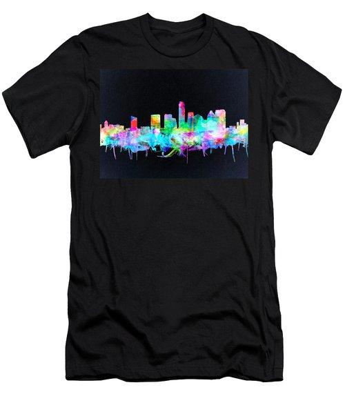 Austin Texas Skyline Watercolor 3 Men's T-Shirt (Slim Fit) by Bekim Art