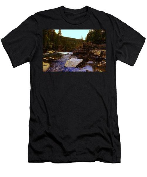 Beautiful Yak River Montana Men's T-Shirt (Slim Fit) by Jeff Swan