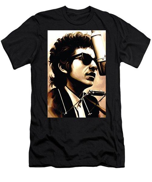 Bob Dylan Artwork 3 Men's T-Shirt (Slim Fit) by Sheraz A