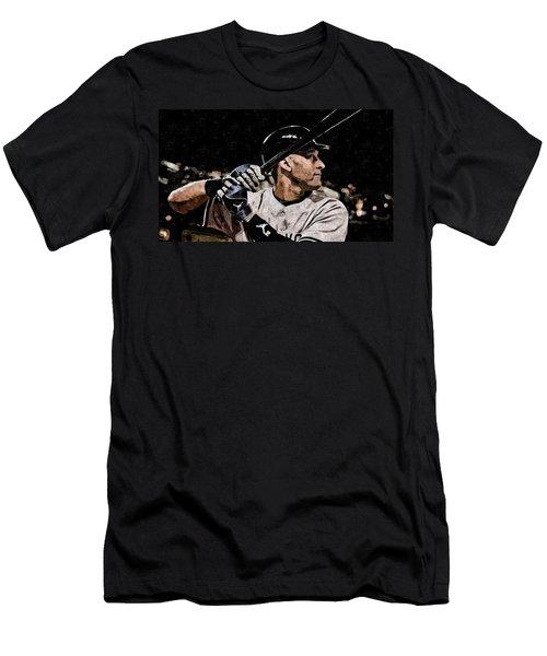 Derek Jeter On Canvas Men's T-Shirt (Slim Fit) by Florian Rodarte