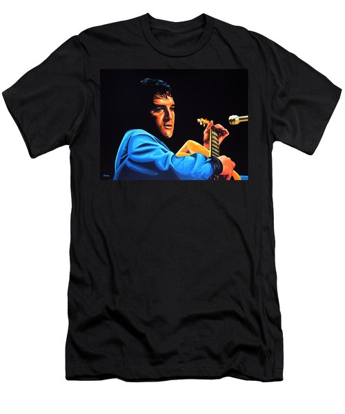 Elvis Presley 2 Painting Men's T-Shirt (Slim Fit) by Paul Meijering
