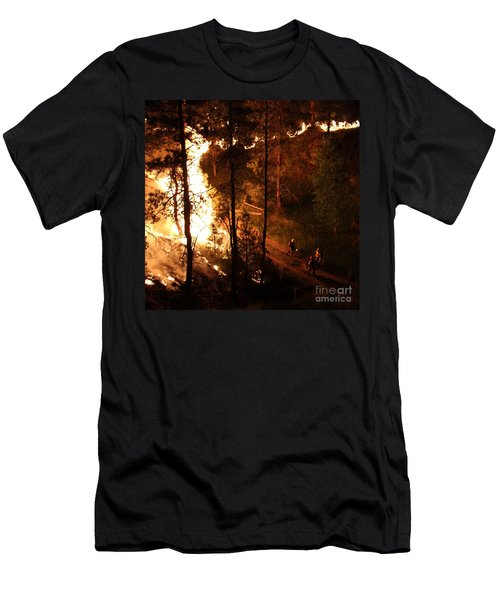 Men's T-Shirt (Slim Fit) featuring the photograph Firefighters Burn Out On The White Draw Fire by Bill Gabbert