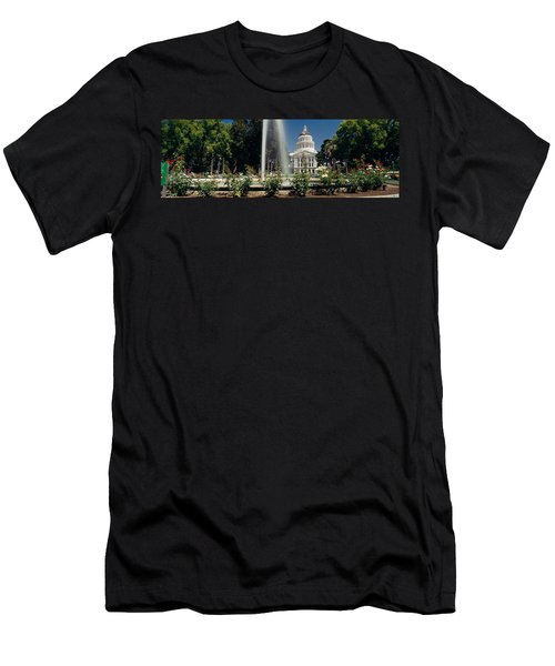 Fountain In A Garden In Front Men's T-Shirt (Slim Fit) by Panoramic Images