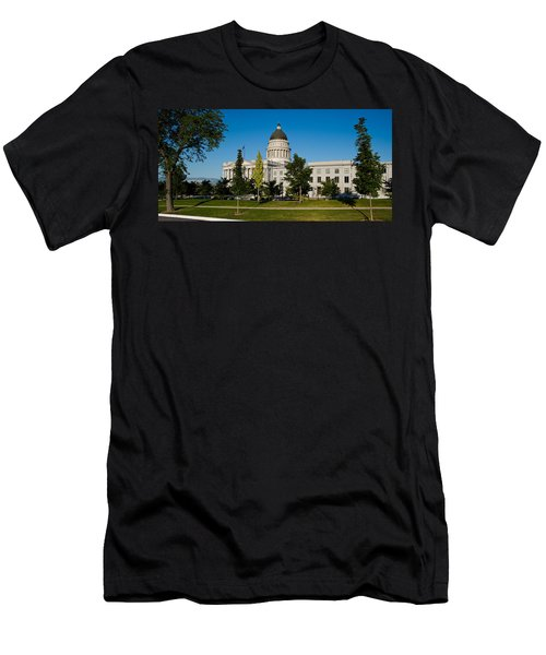Garden In Front Of Utah State Capitol Men's T-Shirt (Slim Fit) by Panoramic Images
