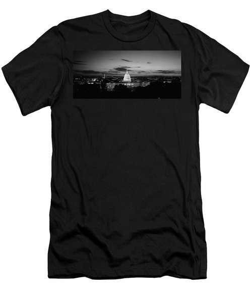 Government Building Lit Up At Night, Us Men's T-Shirt (Slim Fit) by Panoramic Images